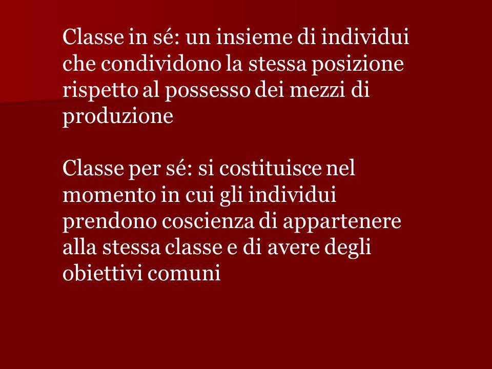Classe in sé: un insieme di individui che condividono la stessa posizione rispetto al possesso dei mezzi di produzione Classe per sé: si costituisce nel momento in cui gli individui prendono coscienza di appartenere alla stessa classe e di avere degli obiettivi comuni
