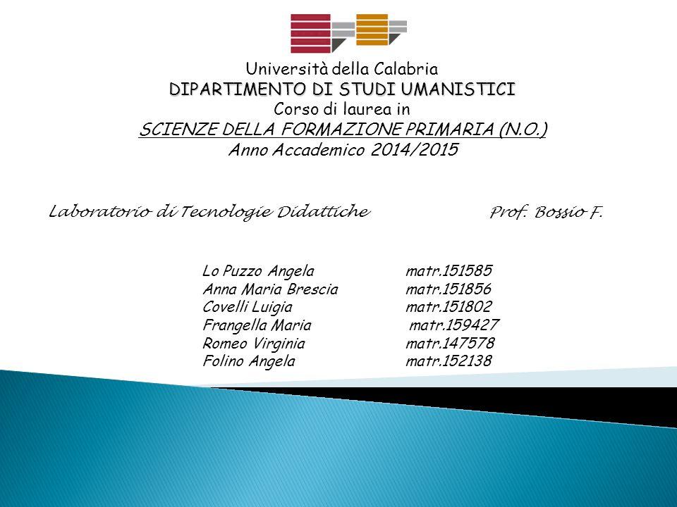 Università della Calabria DIPARTIMENTO DI STUDI UMANISTICI