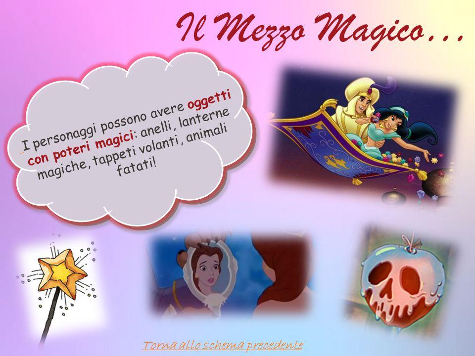 Il Mezzo Magico… I personaggi possono avere oggetti con poteri magici: anelli, lanterne magiche, tappeti volanti, animali fatati!