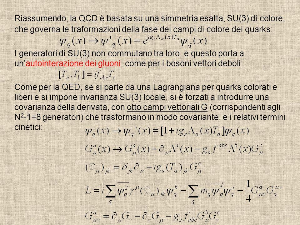 Riassumendo, la QCD è basata su una simmetria esatta, SU(3) di colore, che governa le traformazioni della fase dei campi di colore dei quarks: