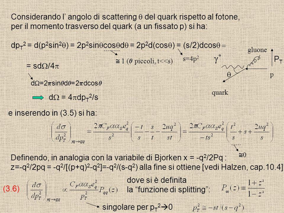 Considerando l' angolo di scattering q del quark rispetto al fotone,