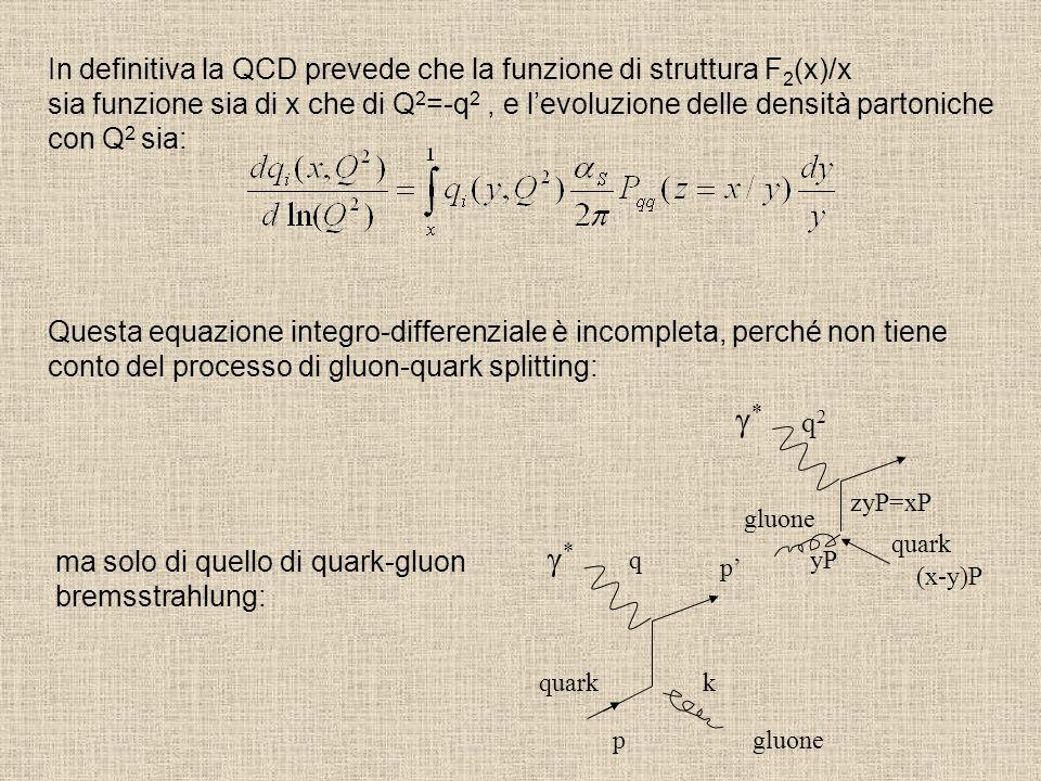 In definitiva la QCD prevede che la funzione di struttura F2(x)/x