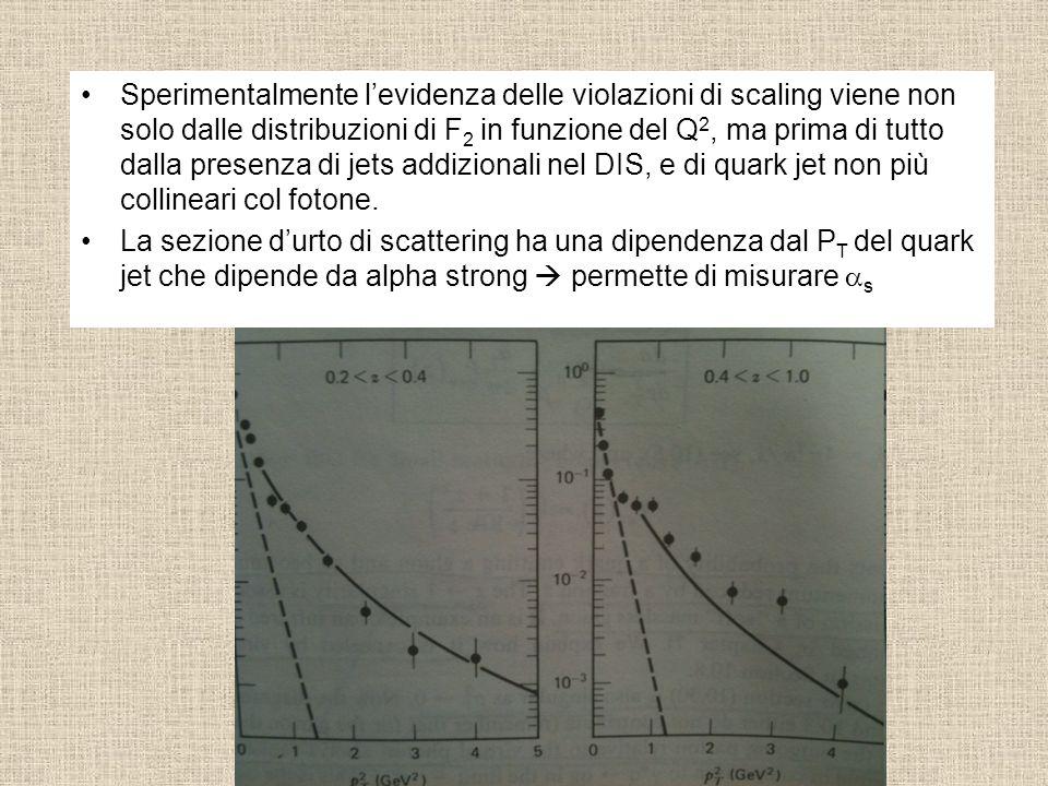Sperimentalmente l'evidenza delle violazioni di scaling viene non solo dalle distribuzioni di F2 in funzione del Q2, ma prima di tutto dalla presenza di jets addizionali nel DIS, e di quark jet non più collineari col fotone.