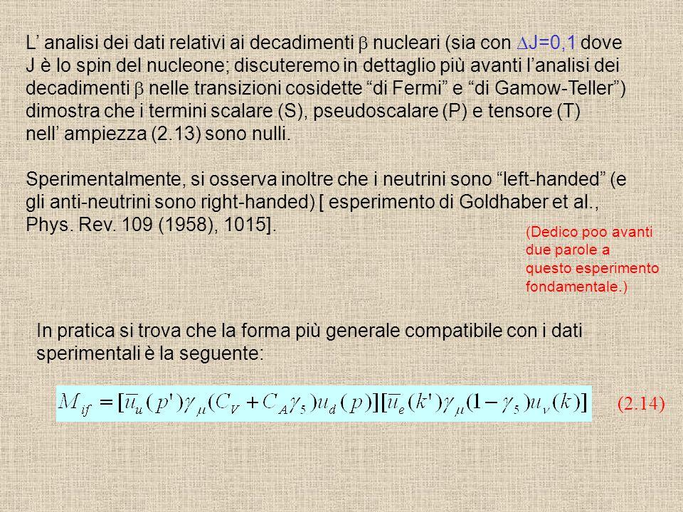dimostra che i termini scalare (S), pseudoscalare (P) e tensore (T)
