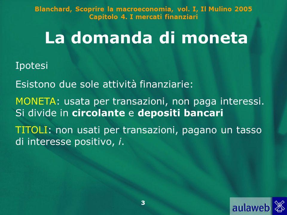 La domanda di moneta Ipotesi Esistono due sole attività finanziarie: