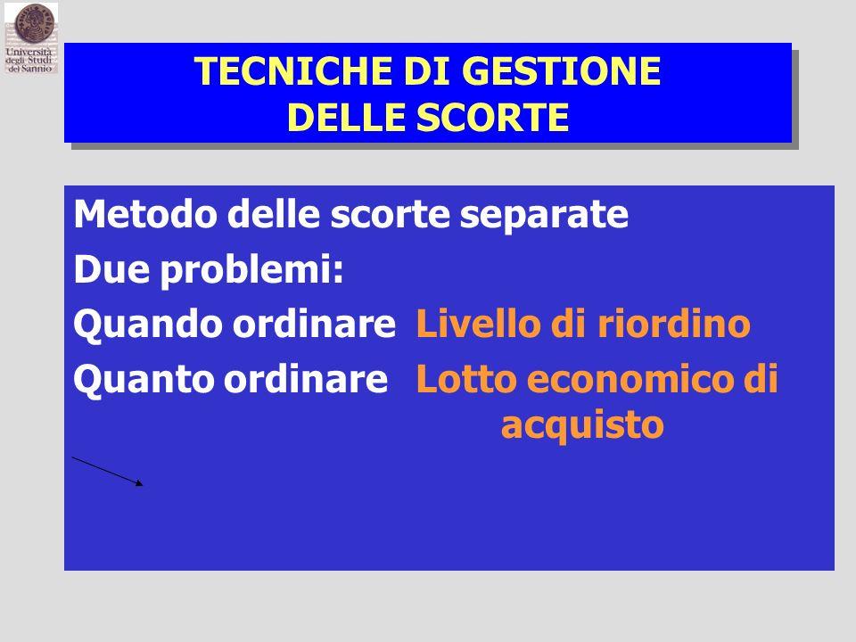 TECNICHE DI GESTIONE DELLE SCORTE