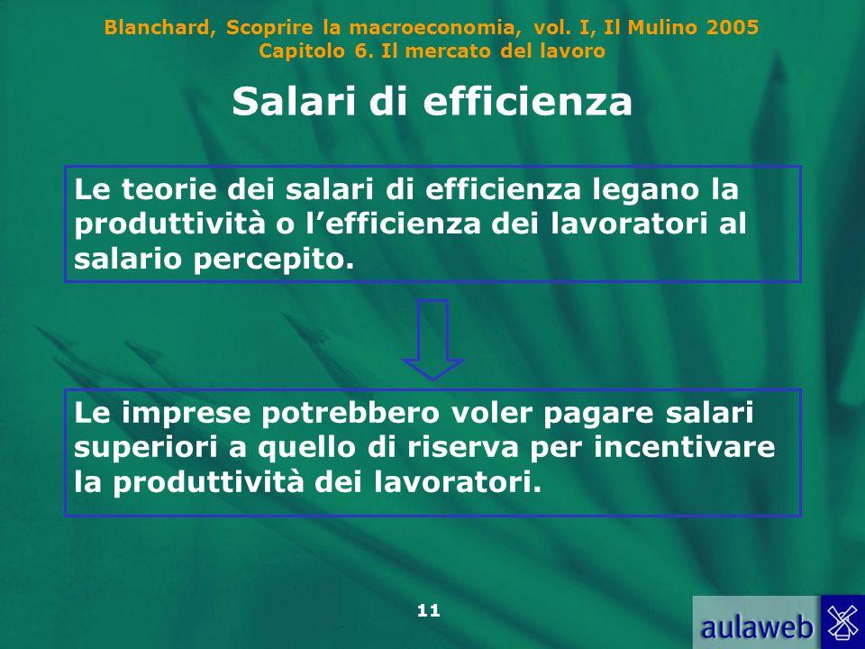 Salari di efficienza Le teorie dei salari di efficienza legano la produttività o l'efficienza dei lavoratori al salario percepito.