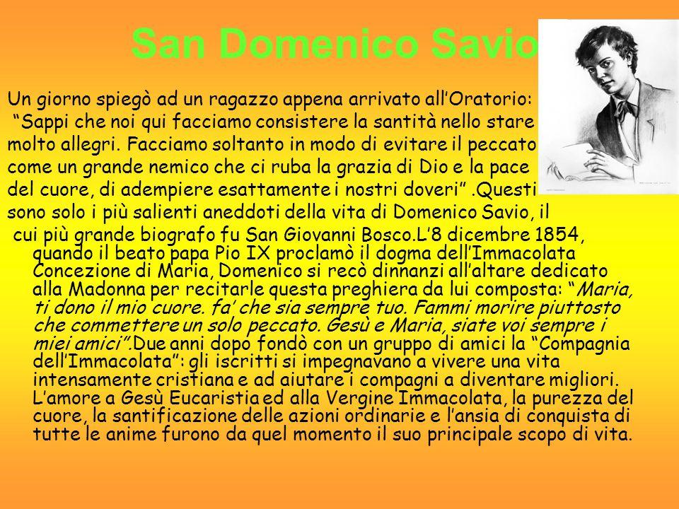 San Domenico Savio Un giorno spiegò ad un ragazzo appena arrivato all'Oratorio: Sappi che noi qui facciamo consistere la santità nello stare.