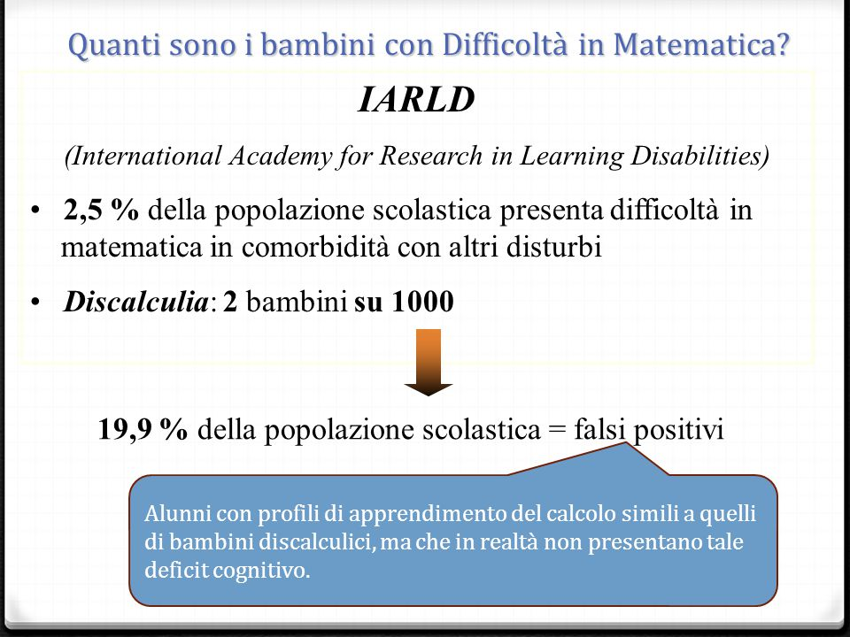 IARLD _ Quanti sono i bambini con Difficoltà in Matematica