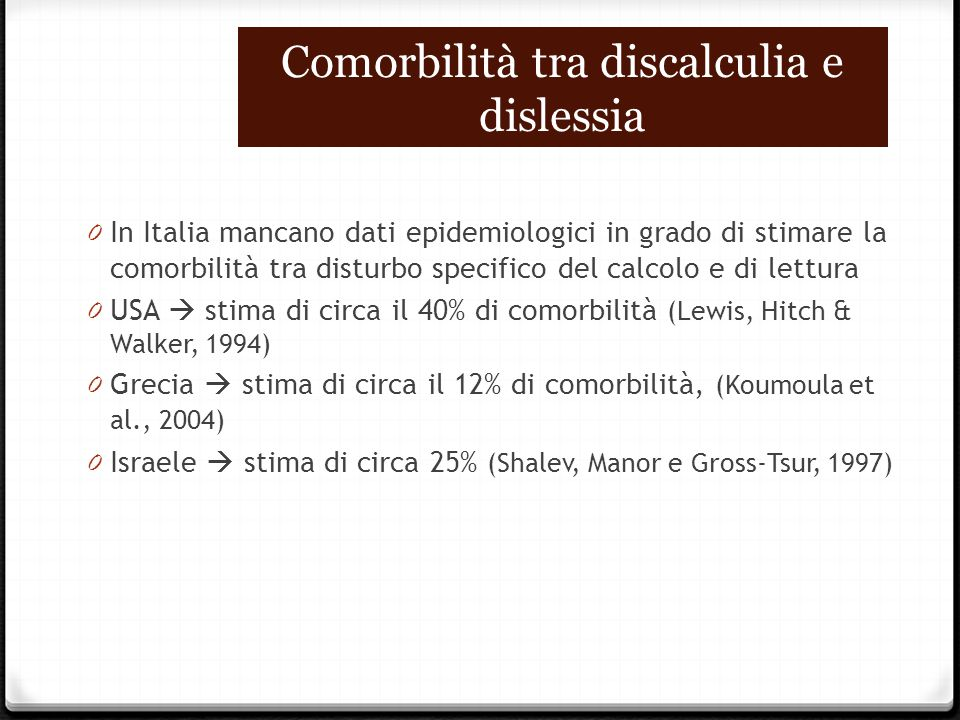 Comorbilità tra discalculia e dislessia