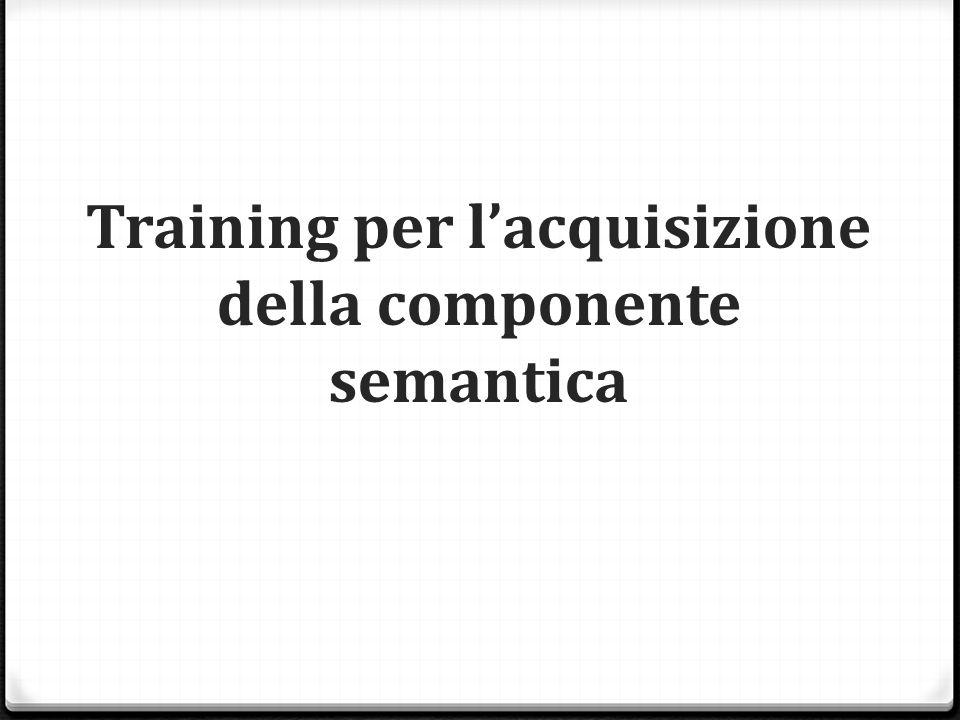 Training per l'acquisizione della componente semantica
