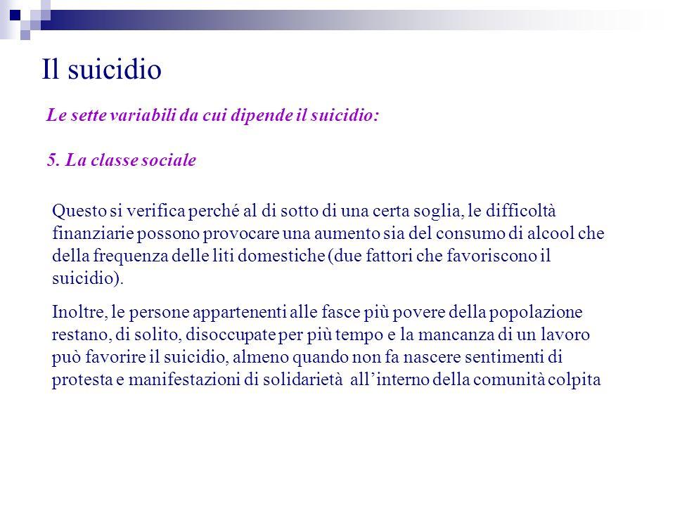 Il suicidio Le sette variabili da cui dipende il suicidio: