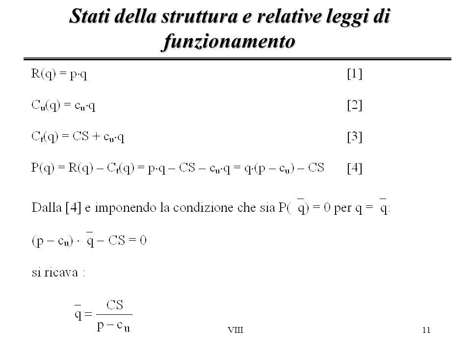 Stati della struttura e relative leggi di funzionamento