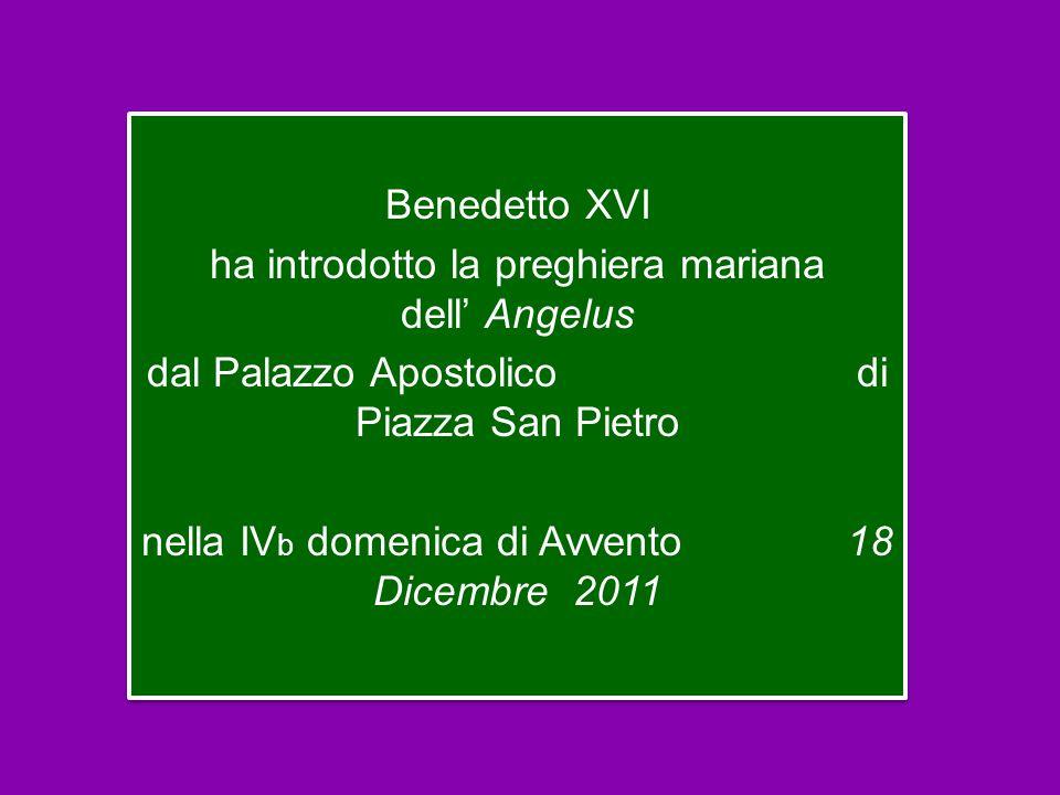 Benedetto XVI ha introdotto la preghiera mariana dell' Angelus dal Palazzo Apostolico di Piazza San Pietro nella IVb domenica di Avvento 18 Dicembre 2011