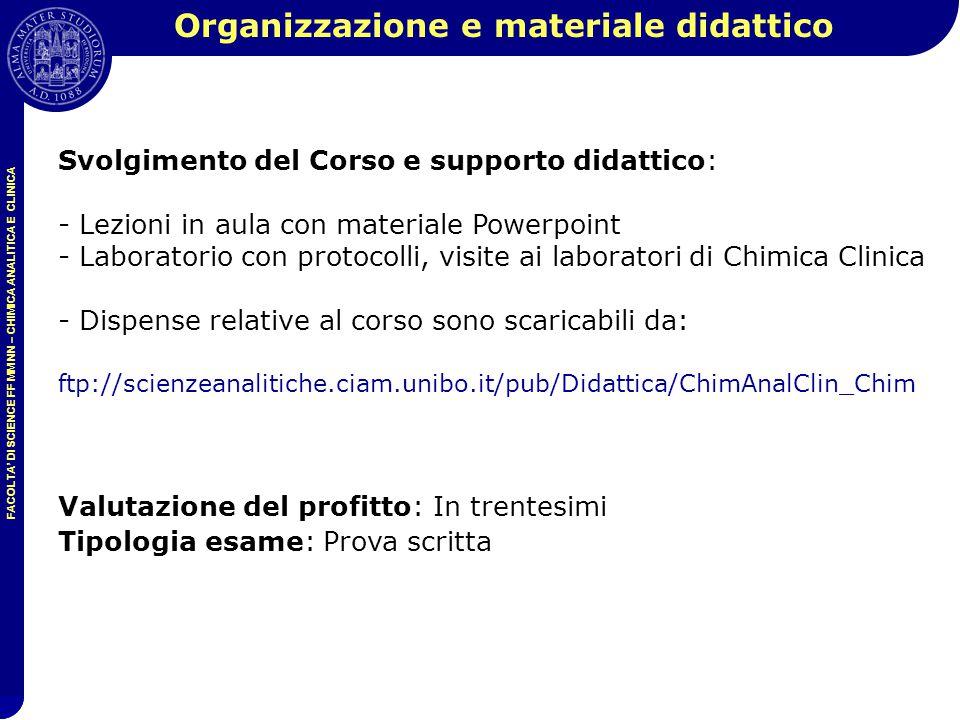 Organizzazione e materiale didattico