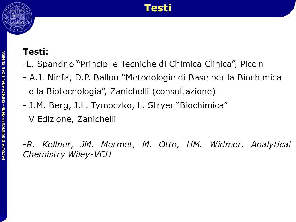 Testi Testi: L. Spandrio Principi e Tecniche di Chimica Clinica , Piccin.