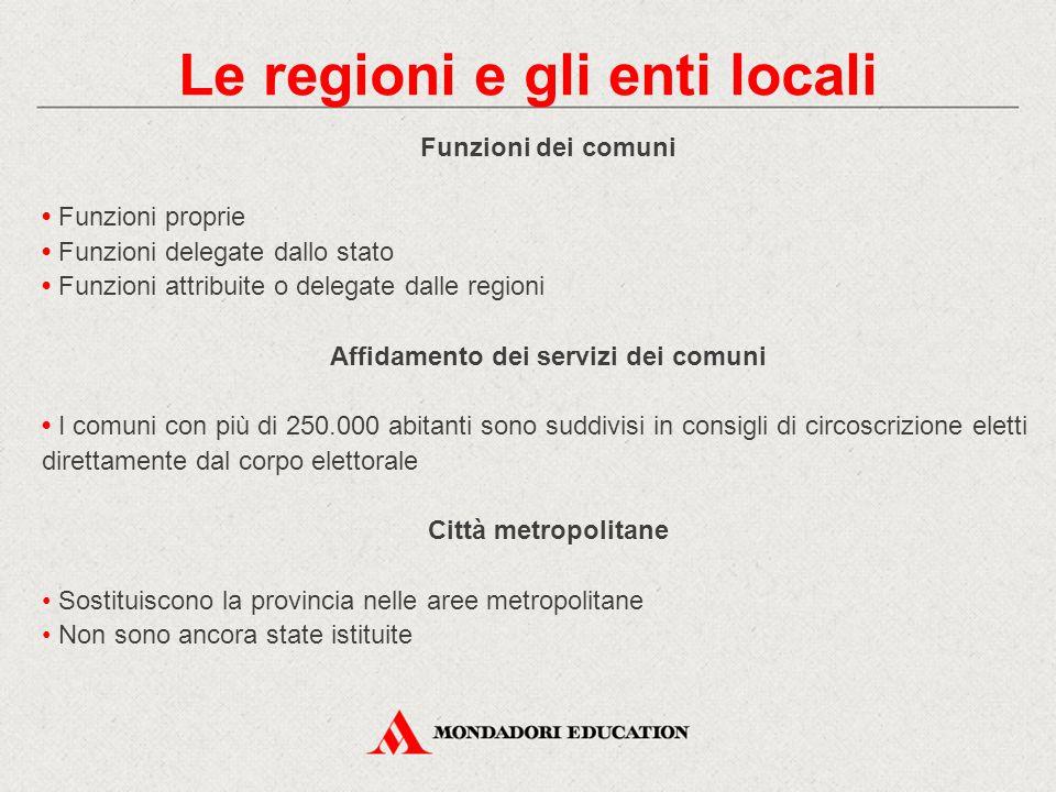 Le regioni e gli enti locali Affidamento dei servizi dei comuni