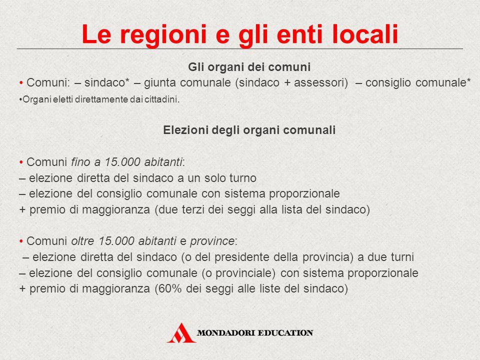 Le regioni e gli enti locali Elezioni degli organi comunali