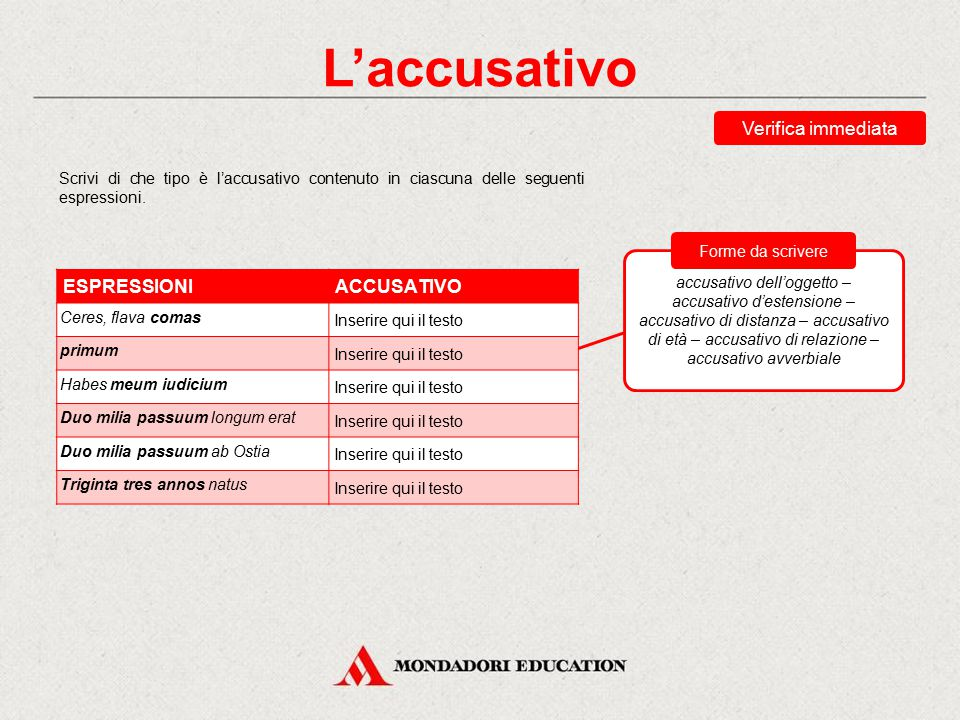 L'accusativo Verifica immediata ESPRESSIONI ACCUSATIVO *