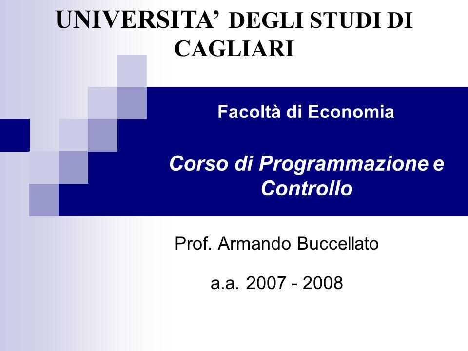 Facoltà di Economia Corso di Programmazione e Controllo