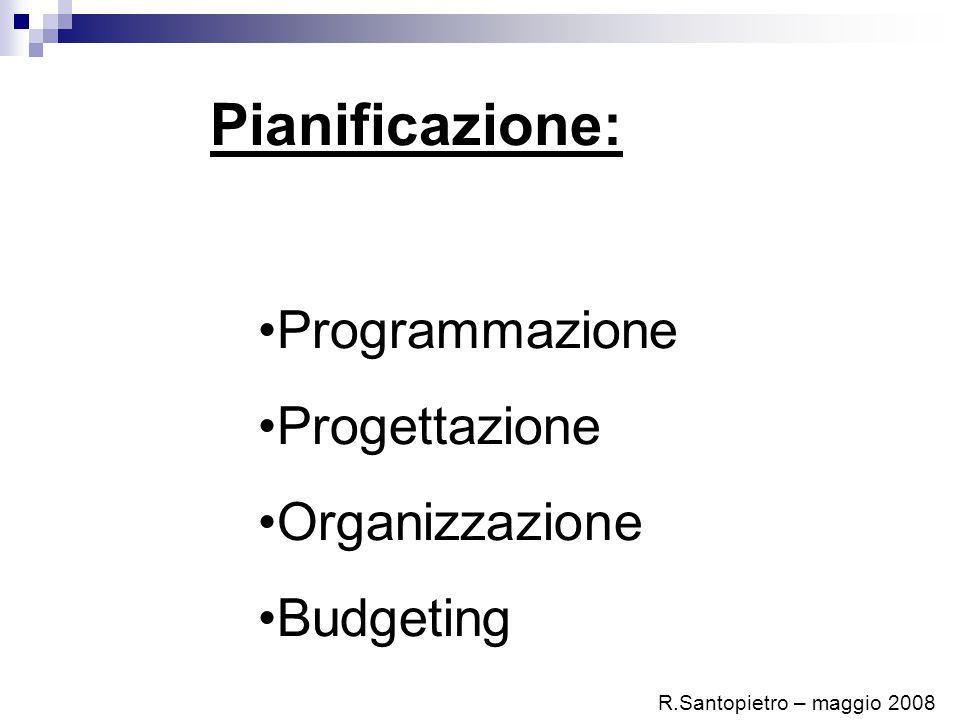 Pianificazione: Programmazione Progettazione Organizzazione Budgeting