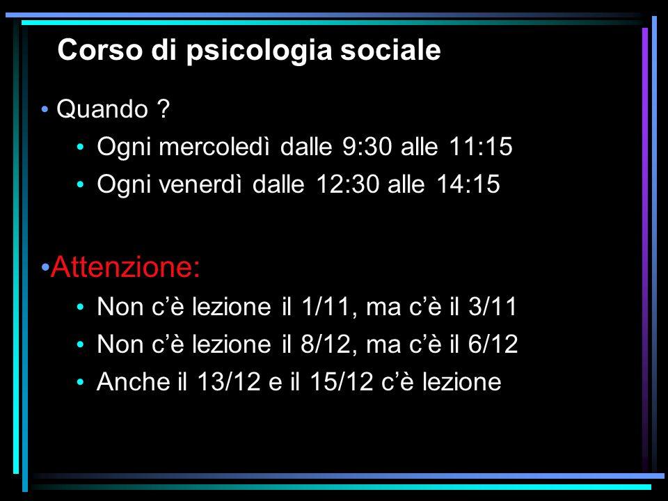 Corso di psicologia sociale