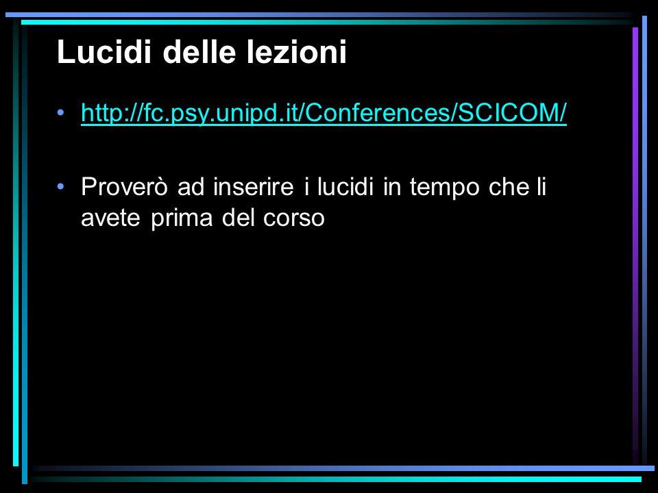 Lucidi delle lezioni http://fc.psy.unipd.it/Conferences/SCICOM/