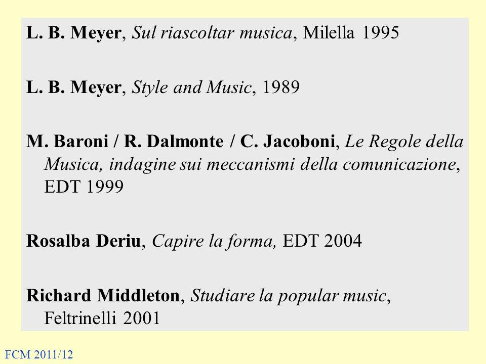 L. B. Meyer, Sul riascoltar musica, Milella 1995