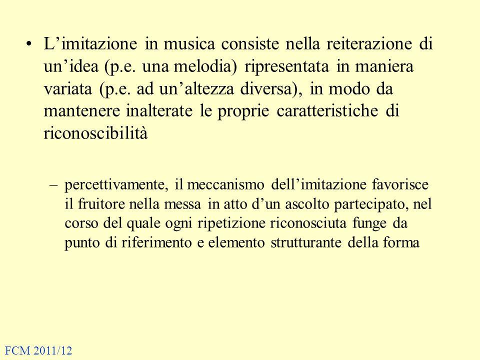 L'imitazione in musica consiste nella reiterazione di un'idea (p. e