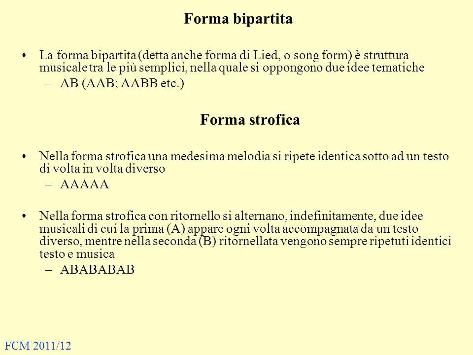Forma bipartita Forma strofica