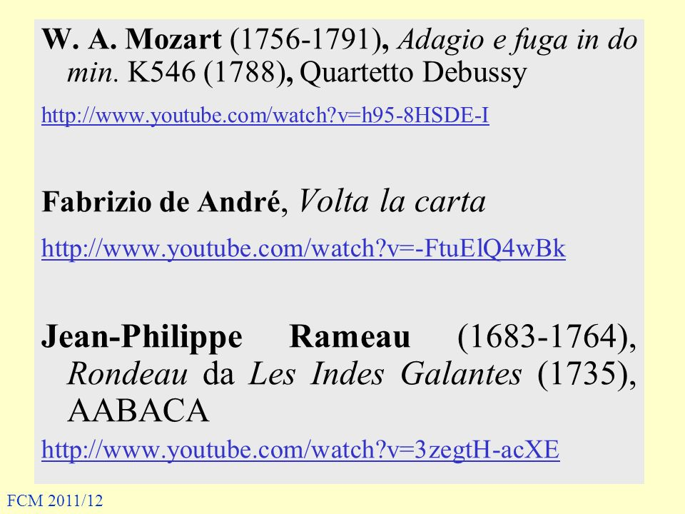 W. A. Mozart (1756-1791), Adagio e fuga in do min