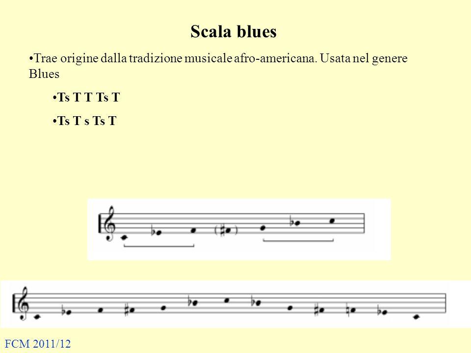 Scala blues Trae origine dalla tradizione musicale afro-americana. Usata nel genere Blues. Ts T T Ts T.