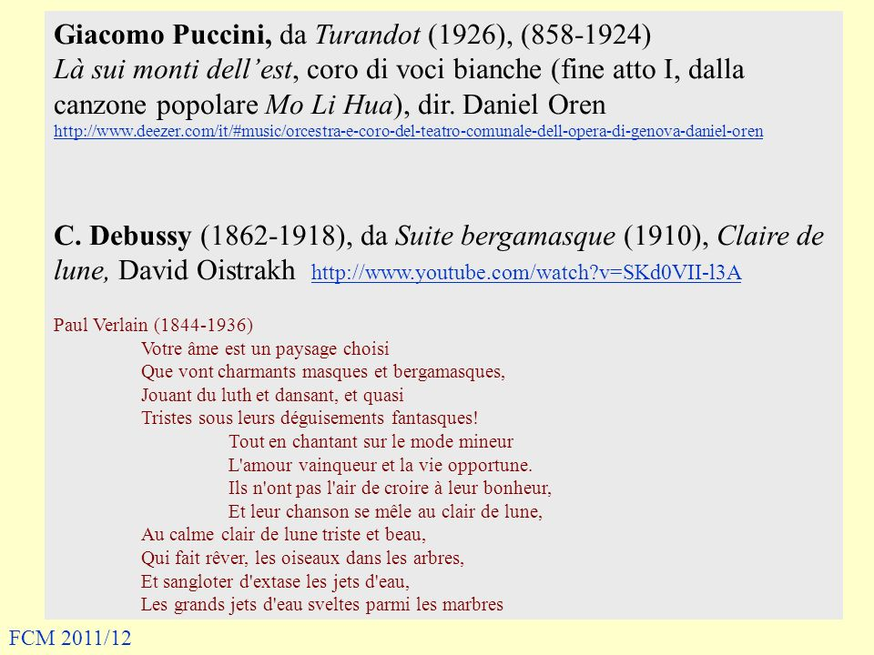 Giacomo Puccini, da Turandot (1926), (858-1924)