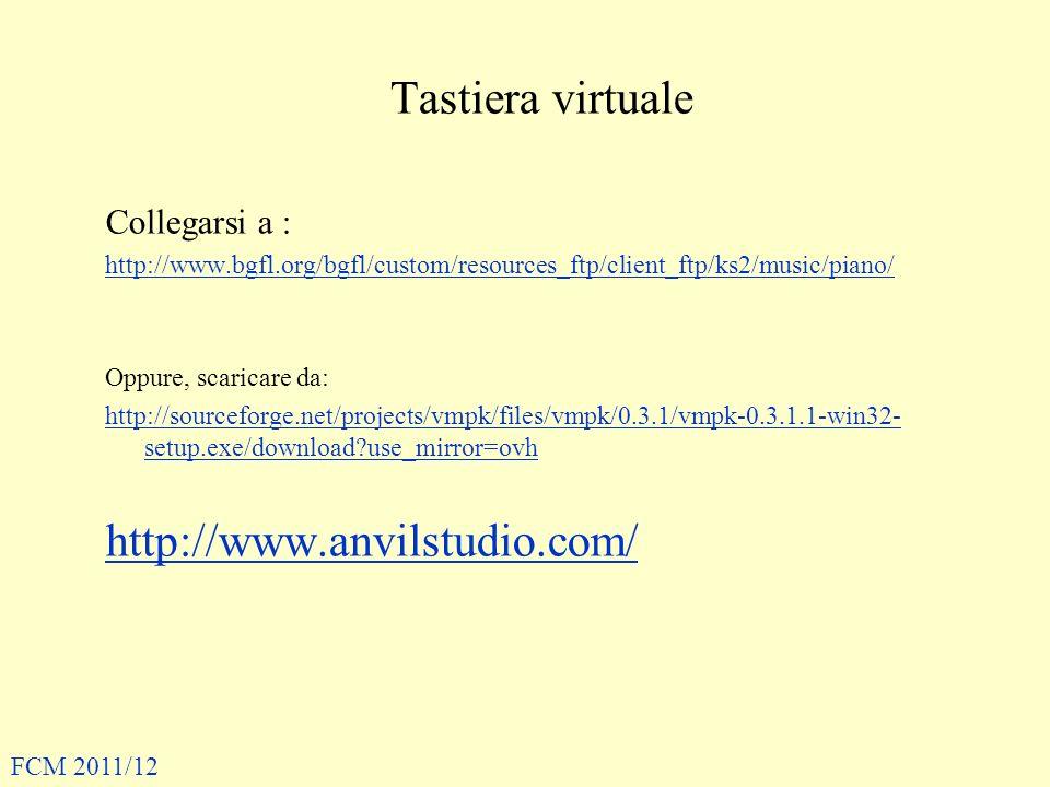 Tastiera virtuale http://www.anvilstudio.com/ Collegarsi a :