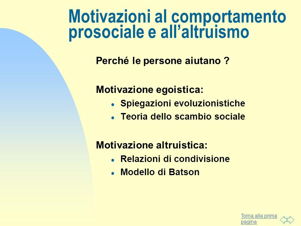 Motivazioni al comportamento prosociale e all'altruismo