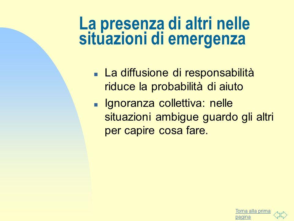 La presenza di altri nelle situazioni di emergenza