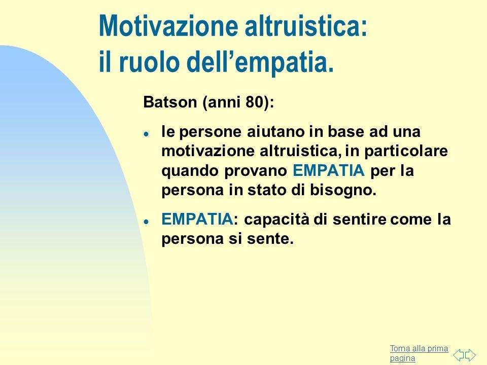 Motivazione altruistica: il ruolo dell'empatia.