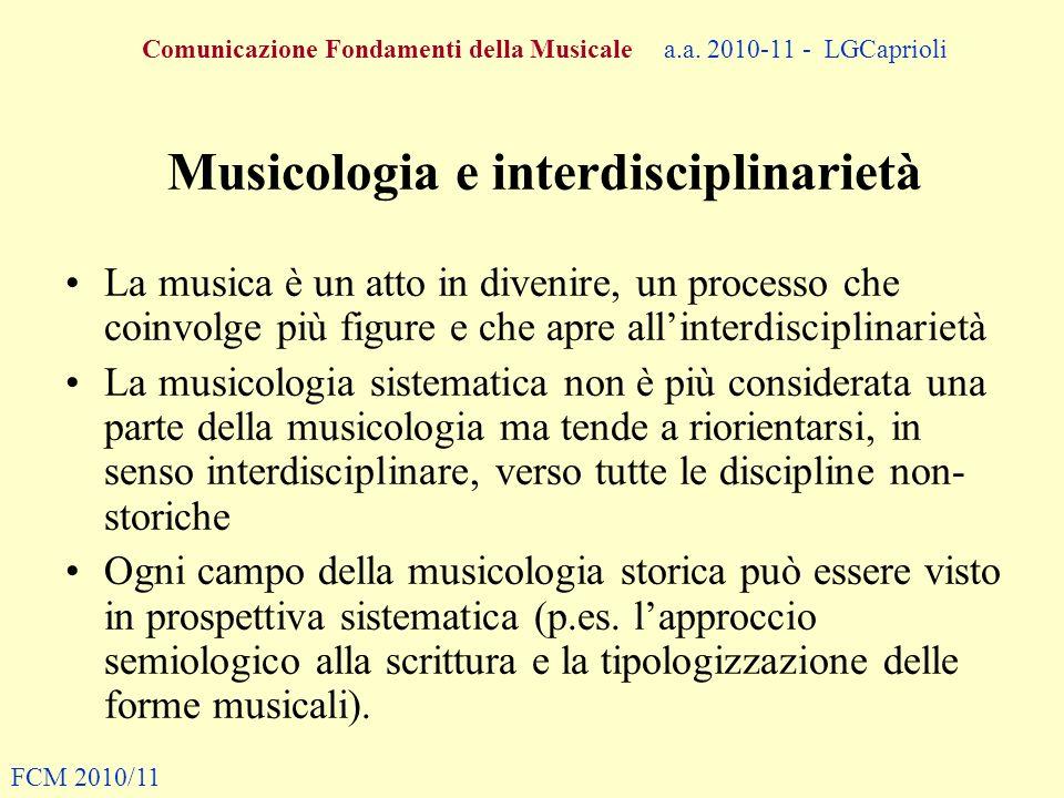 Musicologia e interdisciplinarietà