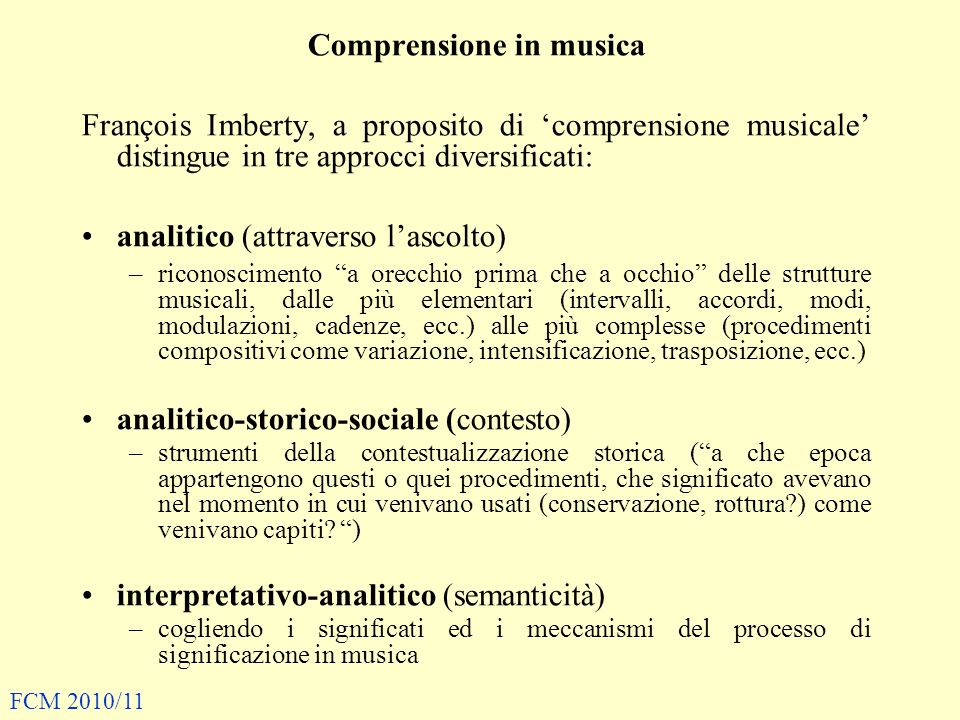 Comprensione in musica
