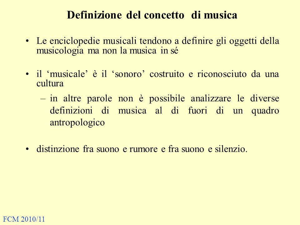 Definizione del concetto di musica