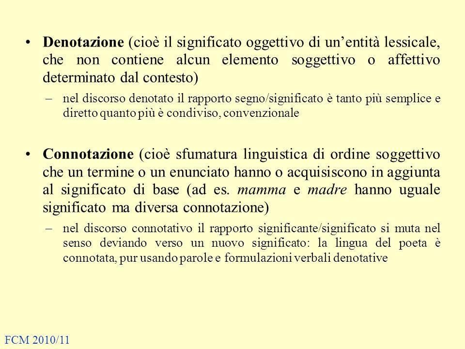 Denotazione (cioè il significato oggettivo di un'entità lessicale, che non contiene alcun elemento soggettivo o affettivo determinato dal contesto)