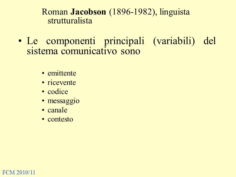 Le componenti principali (variabili) del sistema comunicativo sono