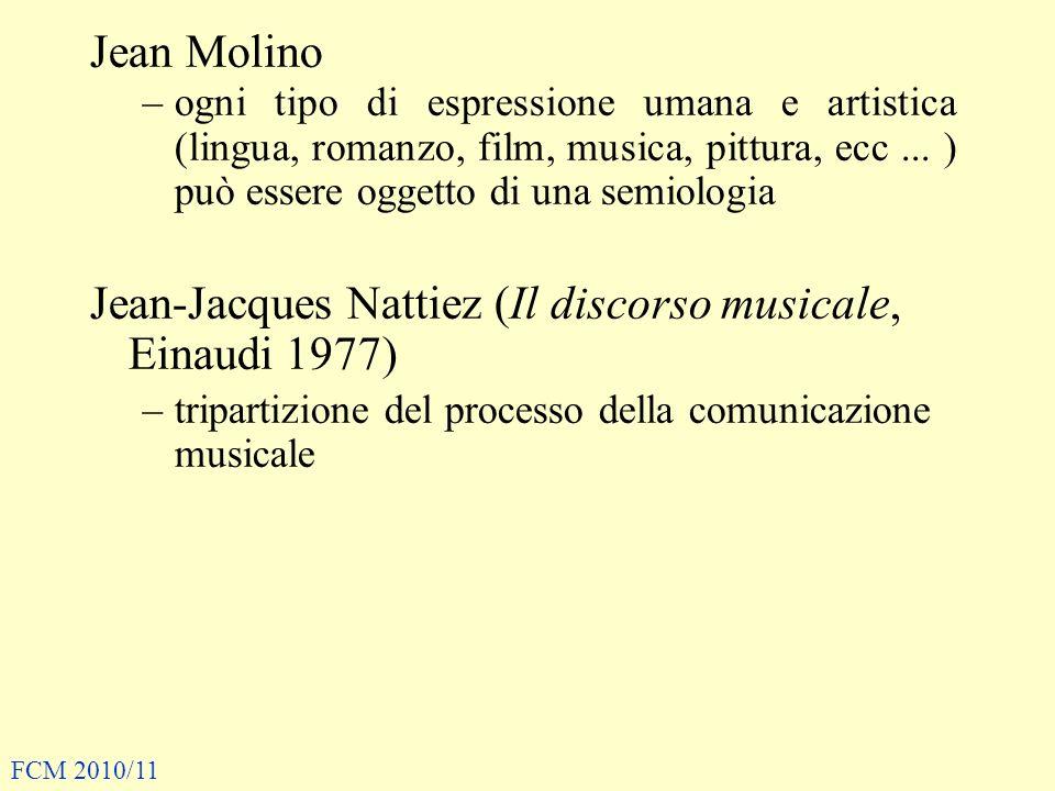 Jean-Jacques Nattiez (Il discorso musicale, Einaudi 1977)