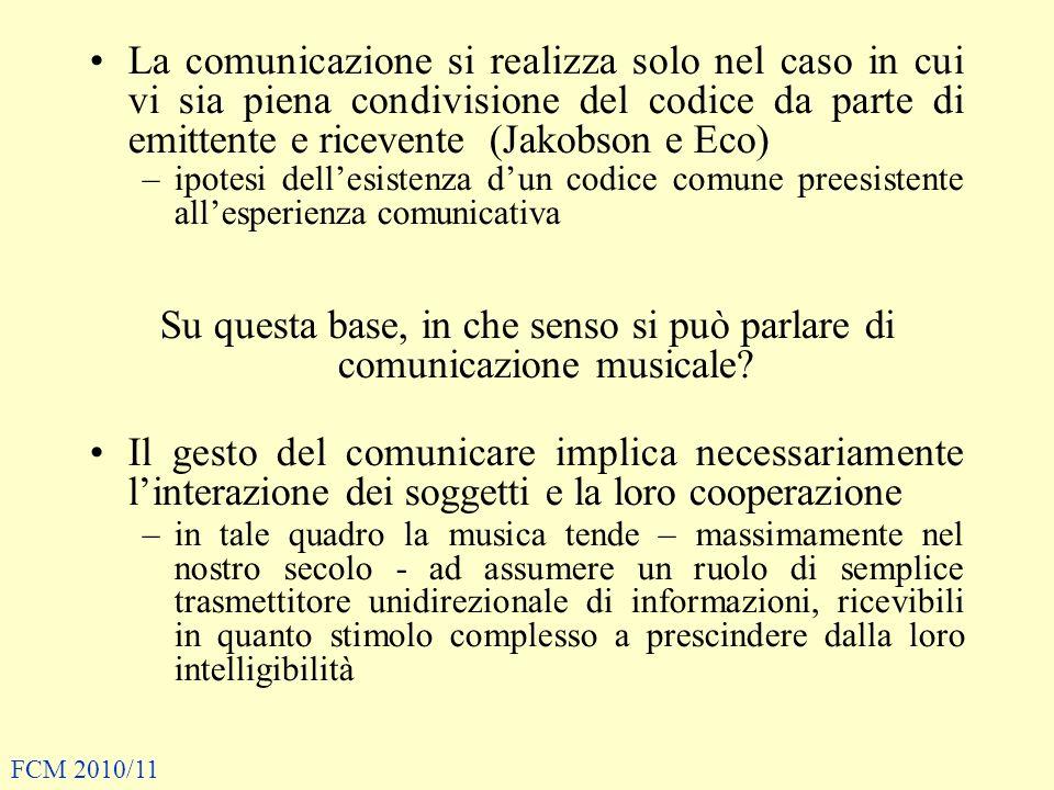 Su questa base, in che senso si può parlare di comunicazione musicale