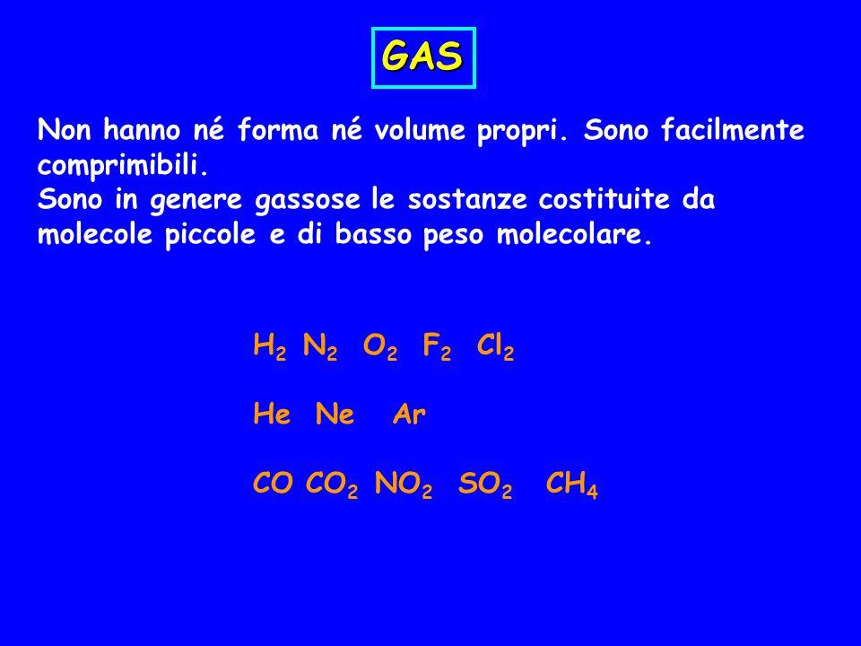 GAS Non hanno né forma né volume propri. Sono facilmente comprimibili.