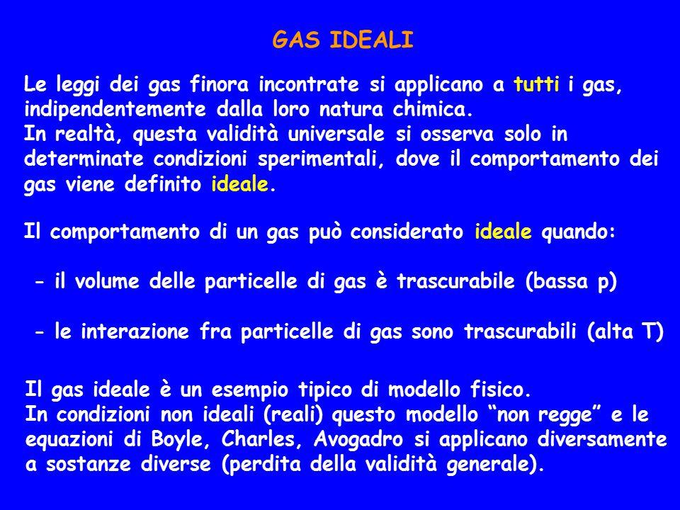 GAS IDEALI Le leggi dei gas finora incontrate si applicano a tutti i gas, indipendentemente dalla loro natura chimica.