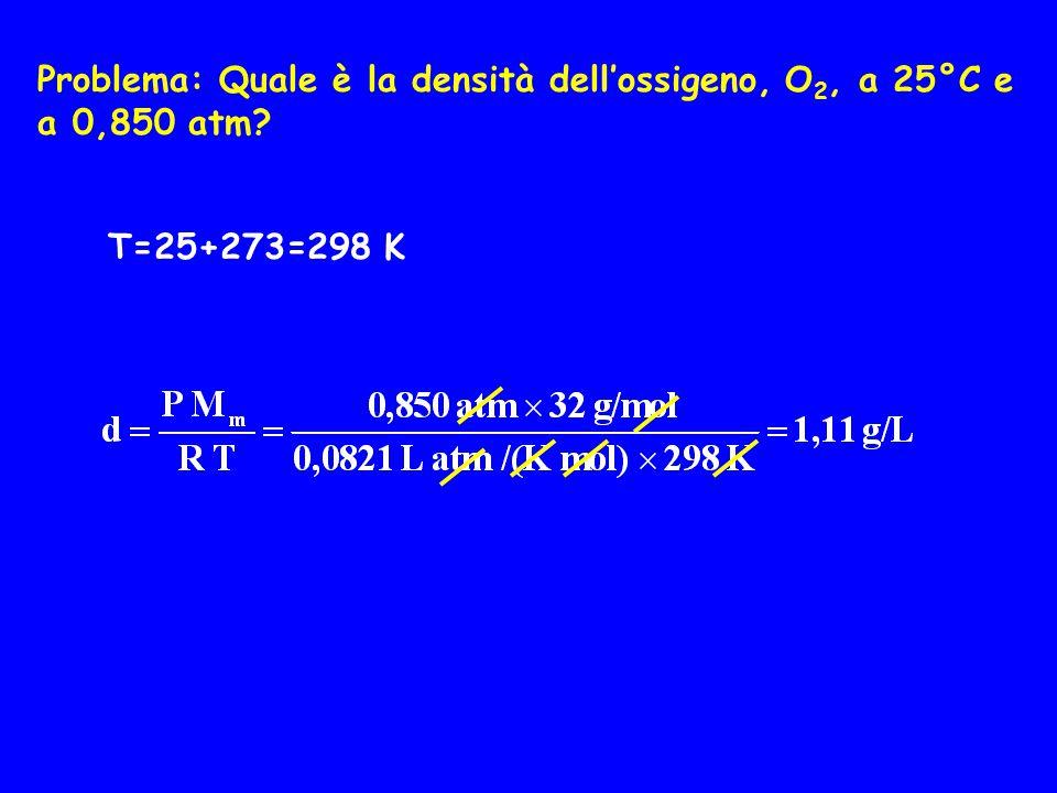 Problema: Quale è la densità dell'ossigeno, O2, a 25°C e a 0,850 atm
