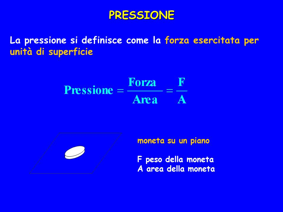 PRESSIONE La pressione si definisce come la forza esercitata per unità di superficie. moneta su un piano.