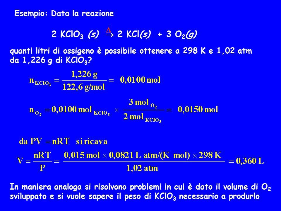 2 KClO3 (s)  2 KCl(s) + 3 O2(g) Esempio: Data la reazione D