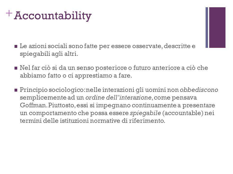 Accountability Le azioni sociali sono fatte per essere osservate, descritte e spiegabili agli altri.